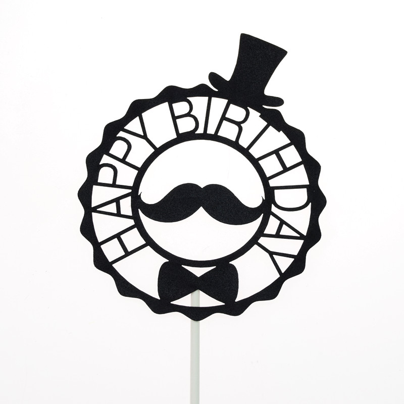 Cake Toppers Flags Glitter Moustache Hat Kids Happy Birthday Cupcake Topper Wedding Bride Baby Shower Party Baking DIY