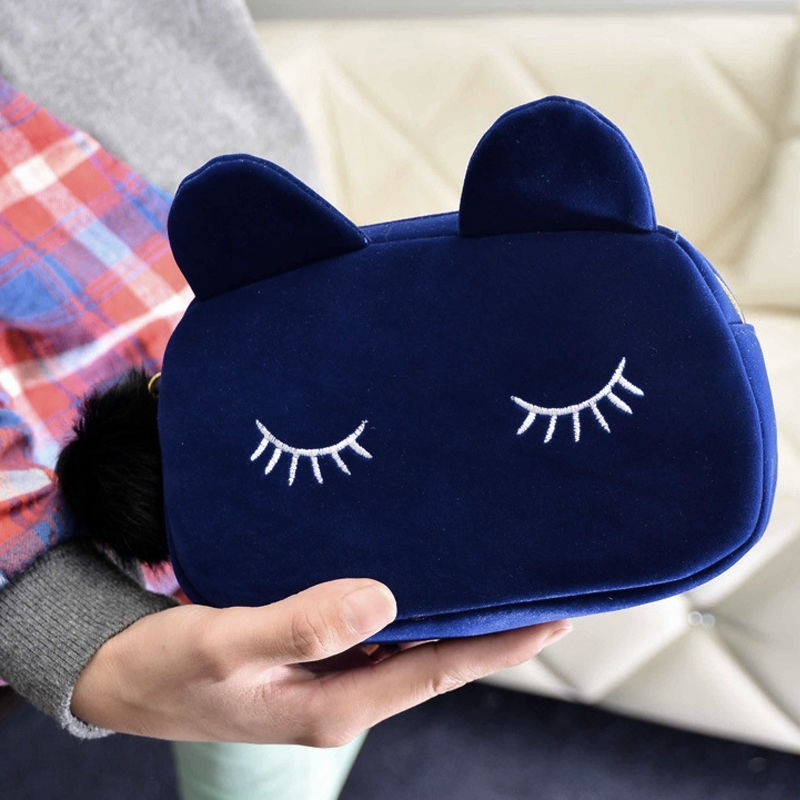 ISKYBOB Portable Cartoon Cat Coin Storage Case Travel Makeup Flannel Pouch Cosmetic Bag Organizer Pink Black Blue