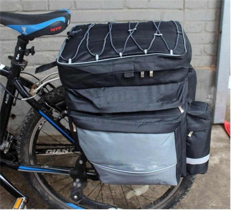 doble bolsa para rueda trasera con varios bolsillos femor Bolsa Trasera para Bicicleta Bolsa de asiento trasero de bicicleta 30L con cinta reflectante para Montar al aire libre