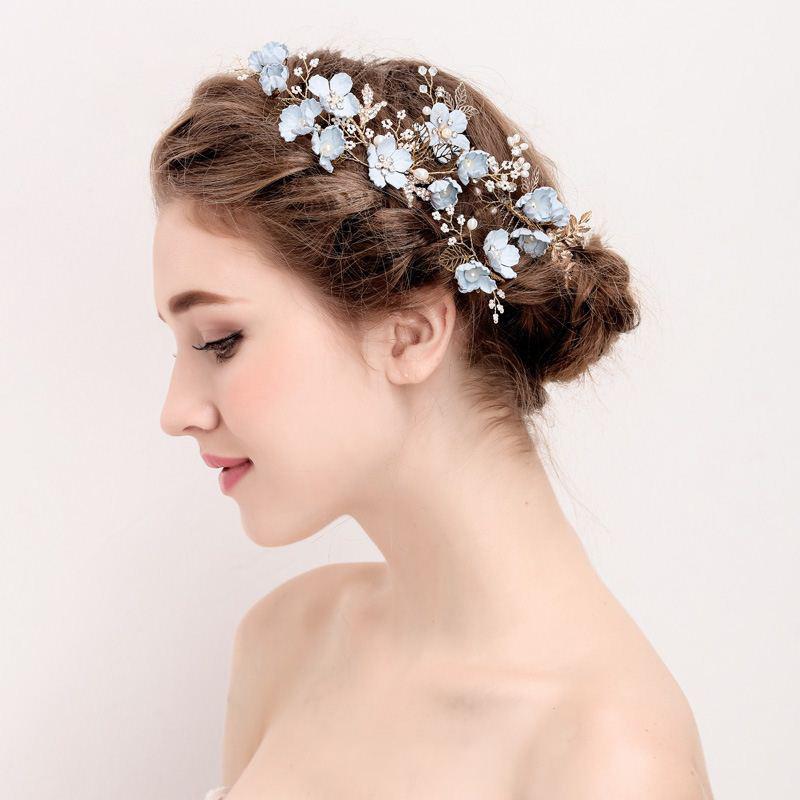 Blue Handmade Flower Wedding Hair Comb Bridal Hair Pin Rrhinestone Pearl Jewelry Hair Accessories for Girls Women Bridesmaid (4)