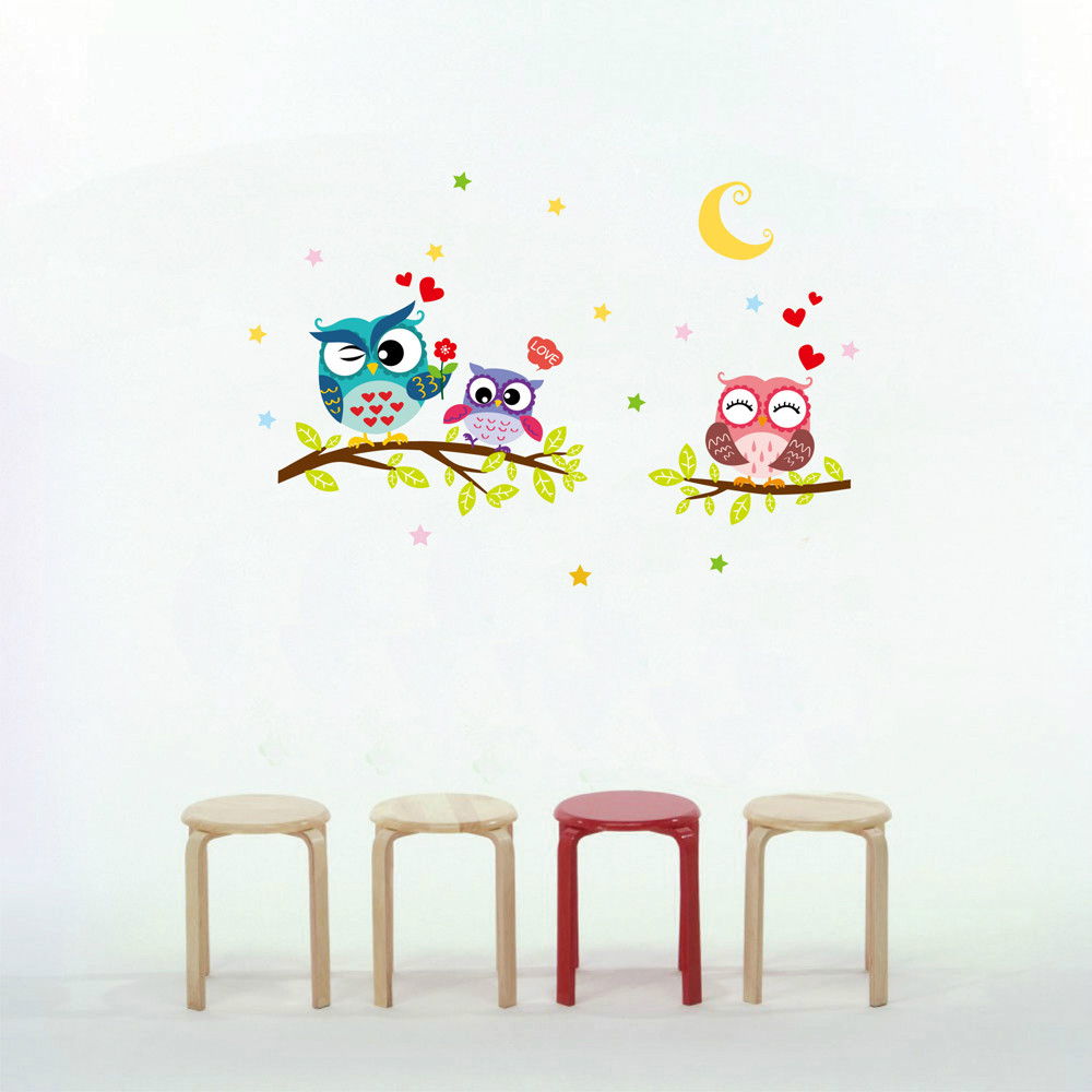 Wholesale Wallpaper Removable Waterproof Cartoon Animal Owl Wall Sticker For Kids Living Rooms Home Decor wall decal
