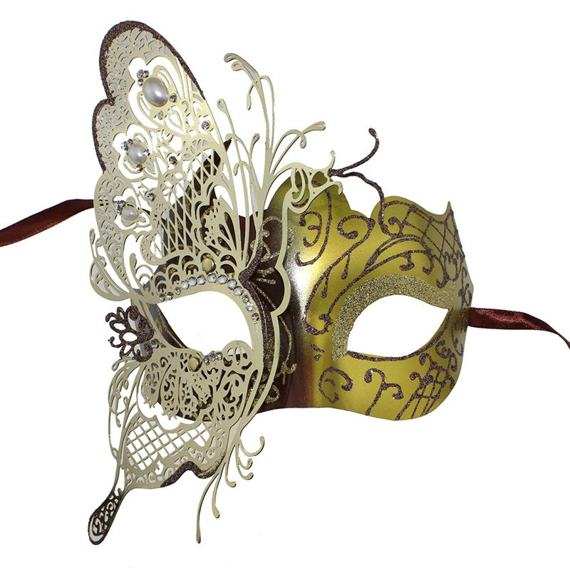 Women Beautiful Venetian Party Mask Hollow Out Butterfly Shiny Rhinestone Masquerade Mask For Lady Black Golden