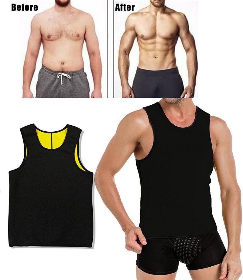 NINGMI Hot Thermal Body Shaper Vest Sauna Suit Men Slimming Shirt Man Fitness Slim Tank Top Belt Neoprene Waist Trainer T-Shirt