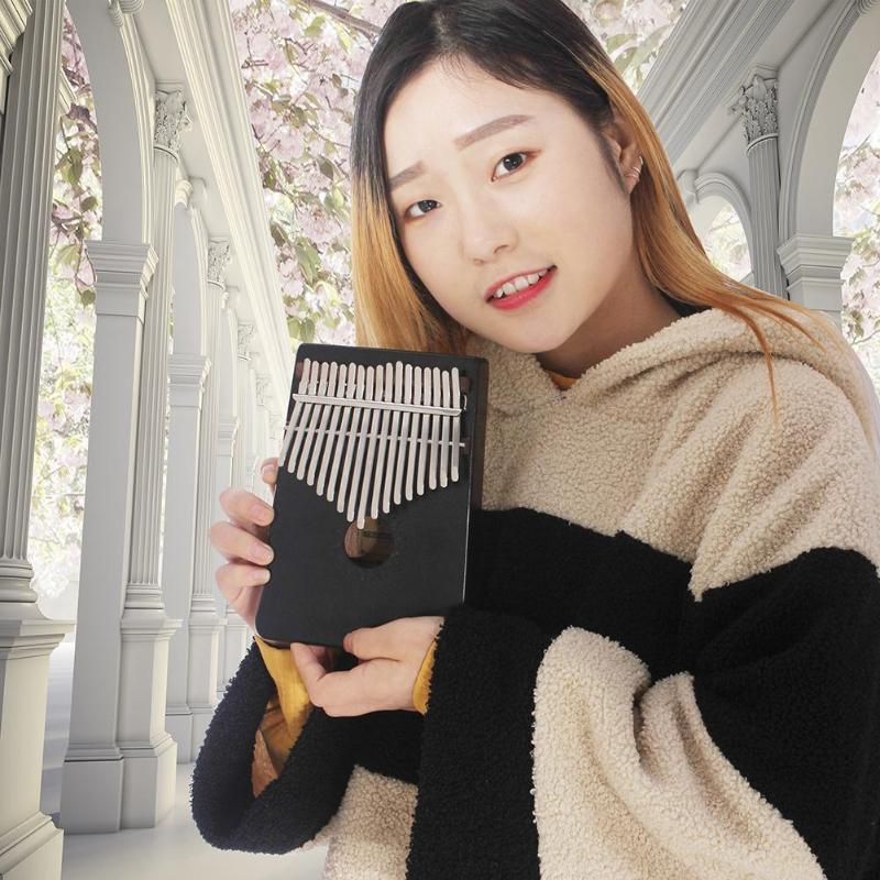 17 Tones Single Board Mahogany Fingers Thumb Piano Musical Instrument Set Portable Great Gift For Kids Drop Shipping
