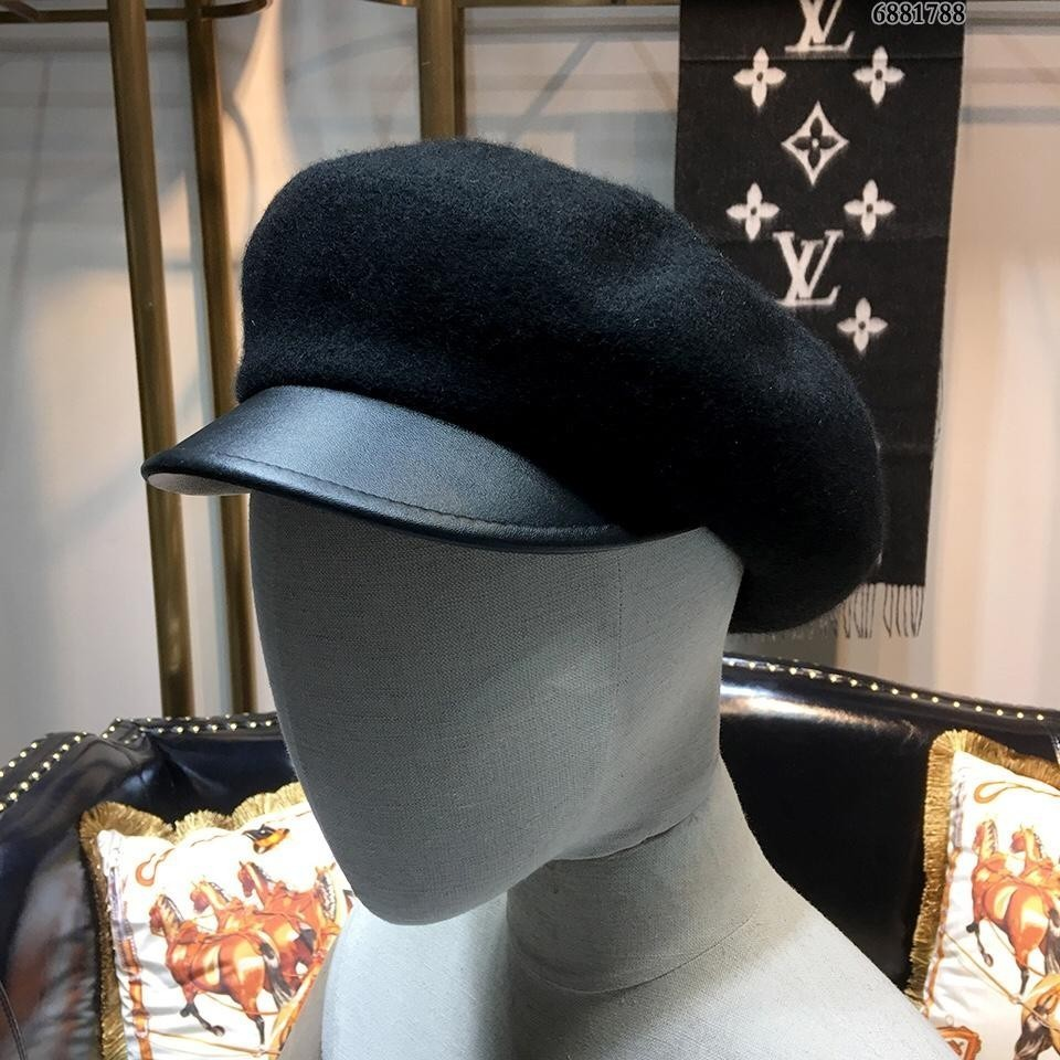 High End Women Men Cap Ladies Hats Counter Black Hat Wool Cashmere beret Hat With Box