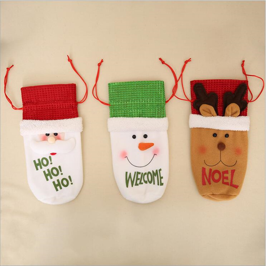 Wine Bottle Cover Bags Christmas Decoration for Home Santa Claus Santa Sack Noel Banquet Dinner Decoration Wine Bottle Covers Y18102909