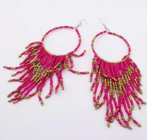 2018 chaud exagération grand cercle de mode femmes gilets multicouches boucles d'oreilles 8 couleur Vintage Bohême à la main perles boucles d'oreilles