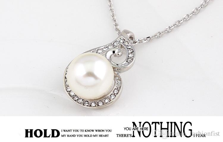 2016 Newest Women Crystal Pearl Pendant Necklace Earring Jewelry Set 925 Silver Chain Necklace Jewelry Sale