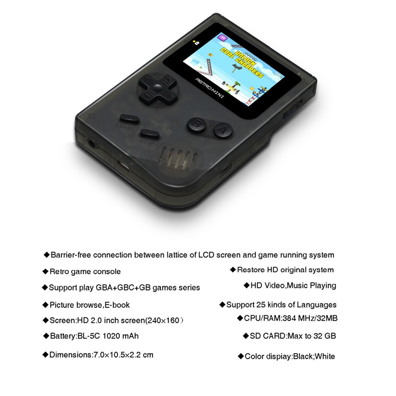 Retro Handheld Game Console 2.0 HD Color Screen Portable Mini Video Game MP3 MP4 Player 36 GBA Nostalgic Games Player for Xmas Gift with Box