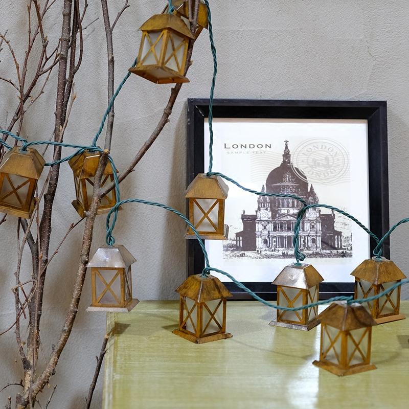 6,5 cm Retro Metall Haus Solar Lampe Power 5 Mt LED String Lichterkette Solar Girlanden Garten Weihnachtsdekor Für outdoor luminaria
