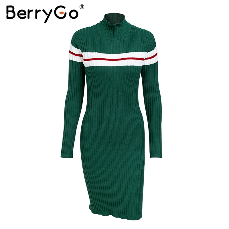 BerryGo Casual striped sweater knitted bodycon dress Women elegant pullover 2018 ladies dresses Autumn winter short dress jumper C18111901