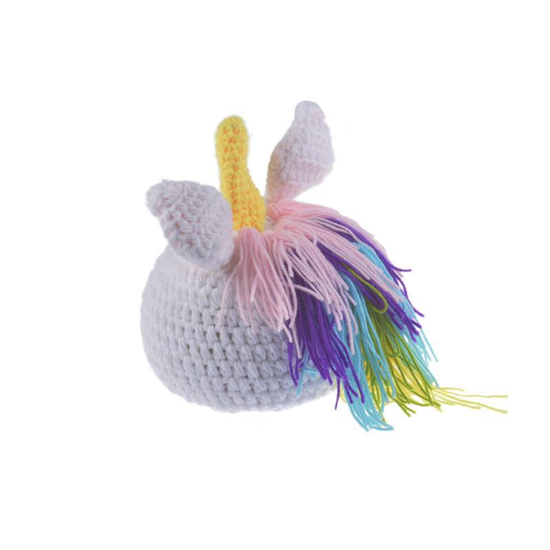 Bebé recién nacido Crochet Knit Disfraz Fotografía Fotografía Prop Sombreros Trajes Pony Hat Pantalones