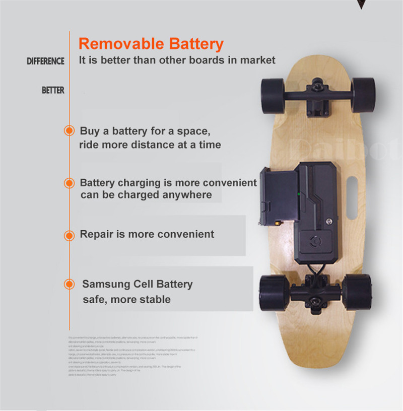 Daibot Portable Electric Scooter 4 Wheel Electric Scooters Removable Battery Dual Hub Motor Wheel Longboard Electric Skateboard (10)