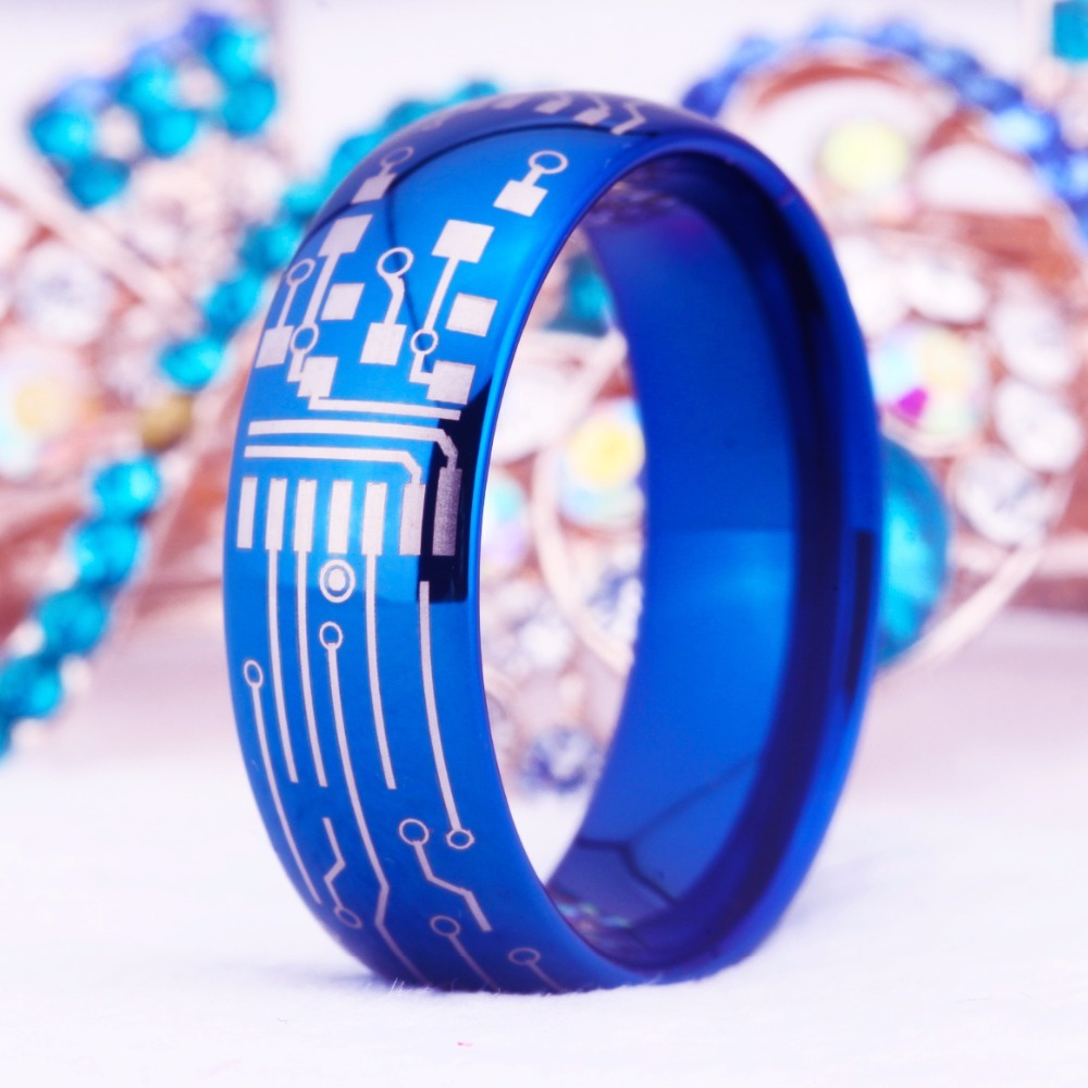 2019 ygk jewelry 8mm shiny blue dome circuit board design rings forSale Circuit Board Ring Green Round Domed #20