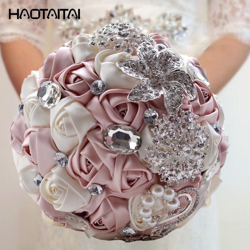 Bridal Bouquet 2018 Hot Pink Elegant Blue Purple Red Fuchsia Rose Artificial Flowers Bride Wedding Bouquet Crystal Silk Ribbon