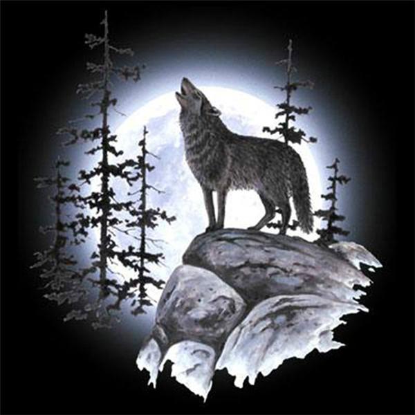 Night Wolf DIY 5D Diamond Embroidery Painting Rhinestone Cross Stitch Home Decor