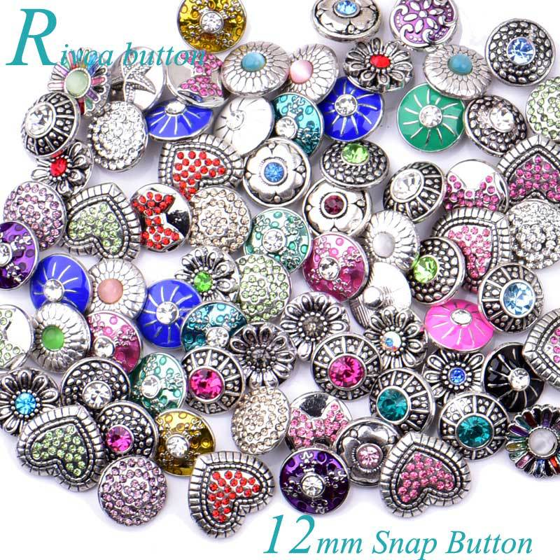 12MM Rivca Snaps Button Jewelry Rhinestone Loose Beads Mixed Style Fit For Noosa Bracelets Bangle Necklace Jewelry DIY Accessories