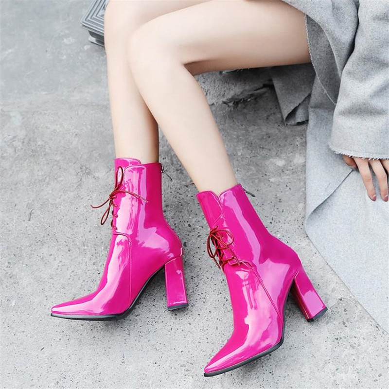 Brand Designers 2018 New Winter Women Shoes Black High Heels Riding Boots Lacing Platform Ankle Boots Chunky Heel Big Size 32-43 (22)
