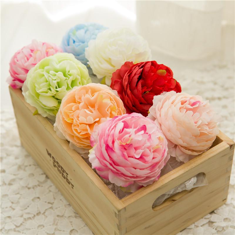 50PCS Artificial Flowers Heads Hydrangea Peony Flower Heads Silk Artificial Flowers Wall For Wedding Decoration Background Wall