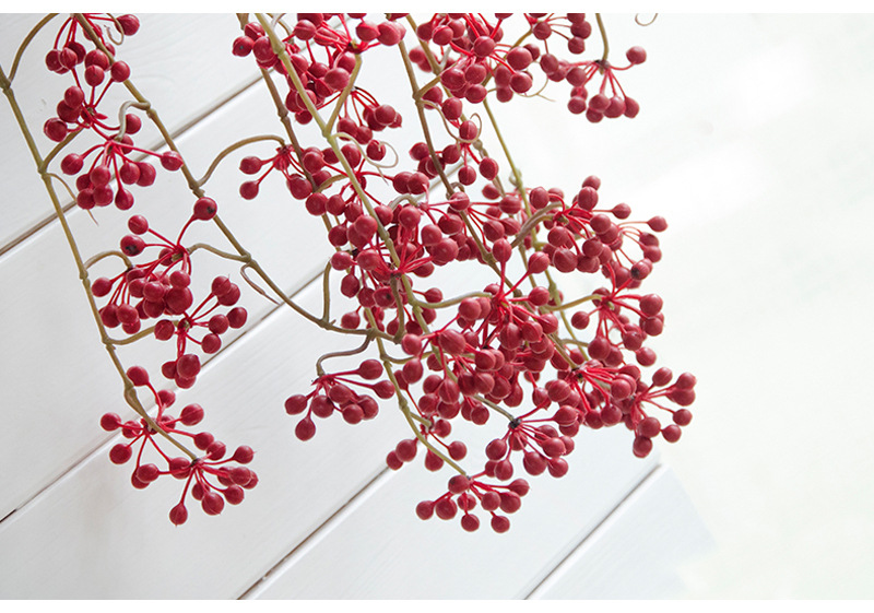 Flone Artificial Flower Branch Fake Red Bean Fruit Vine Simulation Plant Flowers Rattan Wedding Home Party Decoration Floral (16)