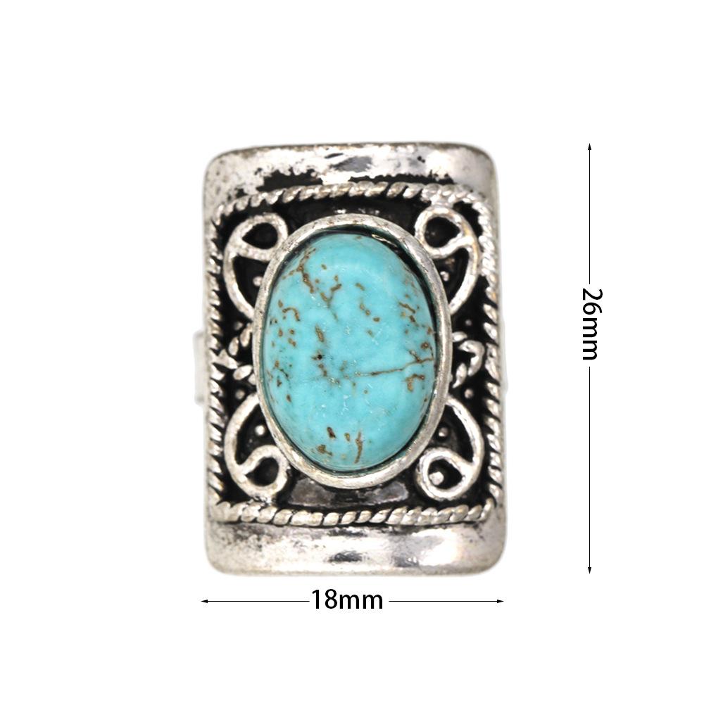 Européen et Américain Retro Silver Silt Pine Ring Rectangulaire Sculpté Motif Réglable Bague CR082