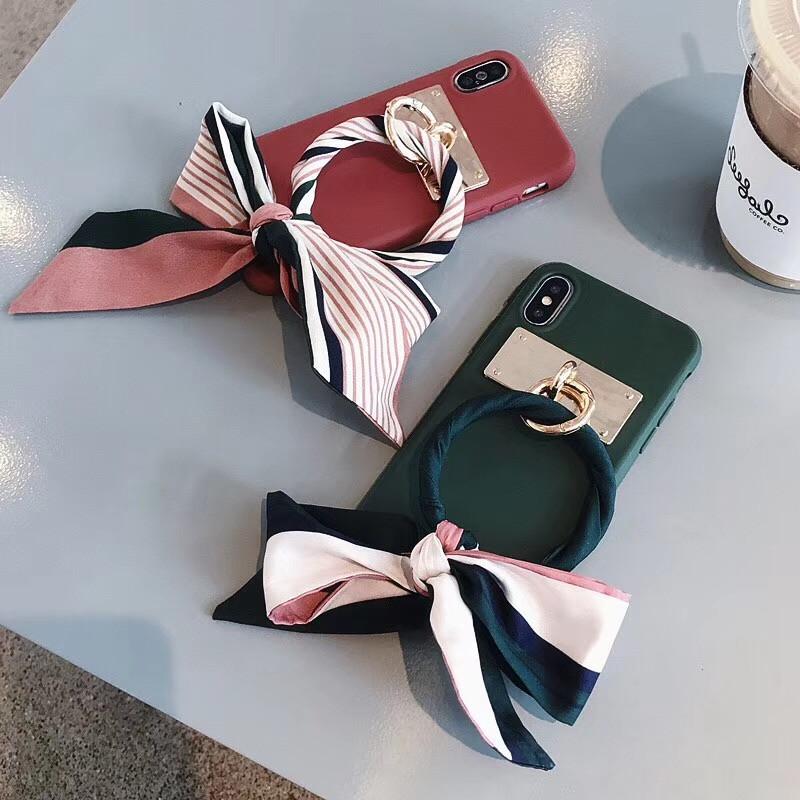 LUDI Luxury Silk Scarf Bow-knot Phone Case for iPhone XS MAX X Phone Cases for iPhone 678 Plus Soft Silicon Retro Fundas Capas09