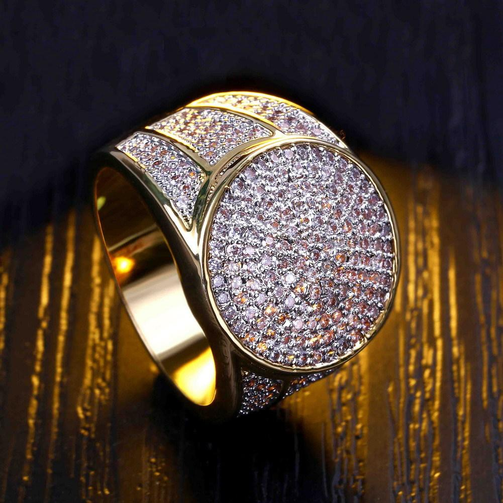 Hot Luxury 18K Gold Rings For Men High Quality Fashion Ring Full Diamond Cool Jewelry Pop Hip-Hop Accessories Lover Gift