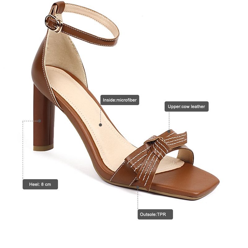ISNOM 2018 Summer Women Sandals Genuine Leather High Heels Sandals Butterfly Knot Open Toe Female Shoes Ladies Footwear Buckle