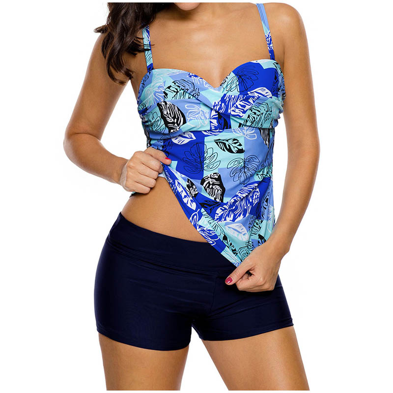 FS Female Floral Leaves Print Long Sport Swimsuit High Waist Trunks Bikinis Set Wrap Swimwear For Women Brazilian Bathing Suits_6