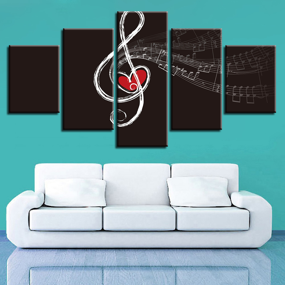 Modular Canvas HD Prints Pictures Home Decor Love Music Painting Wall Art Musical Note Poster For Living Room Framework