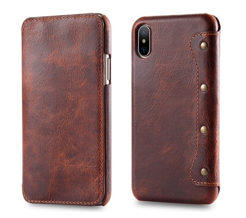 Solque luxury genuine leather case for iPhone X for iPhoneX 5.8\'\' flip wallet cover cases