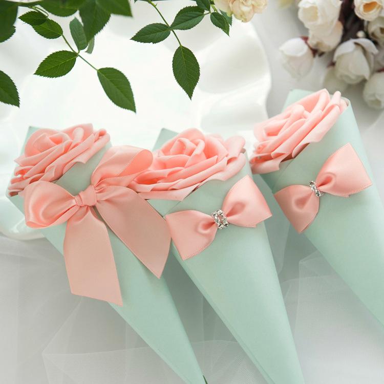 coni di carta favori di nozze fiocco di fiori scatola di caramelle gelato tabella di nozze decorazione fai da te scatole regalo di festa bomboniera