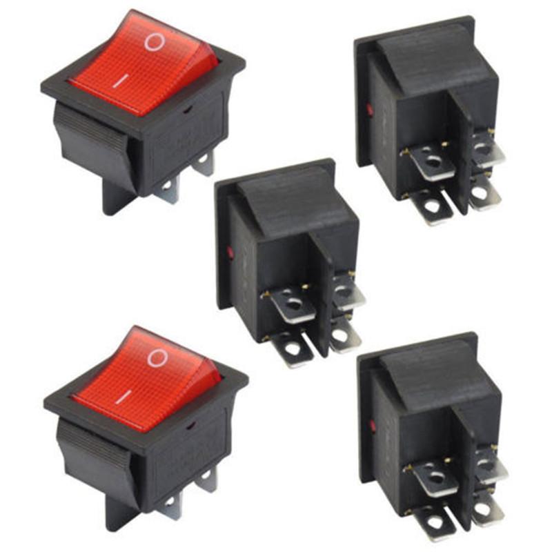 Rojo Redondo Iluminado interruptor 12 Voltios On Off SPST