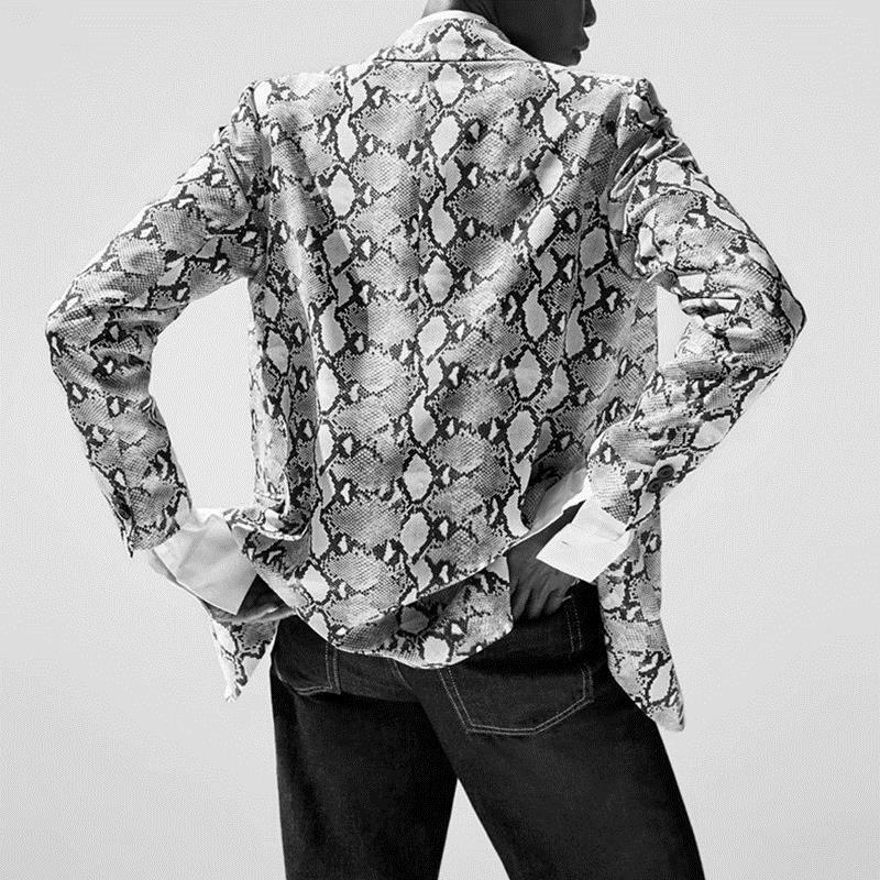 Womens Blazers Long Sleeve Snake Skin Print Long Style Hidden Breasted Ladies Blazers Women Streetwear Outwear S M L (1)_