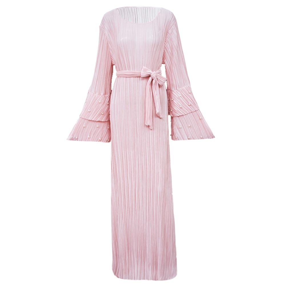Women Muslim Dress Pleated Tier Flare Sleeve Beading Waist Belt Maxi Dubai Abaya Islamic 2018 Autumn Elegant Islamic Clothing