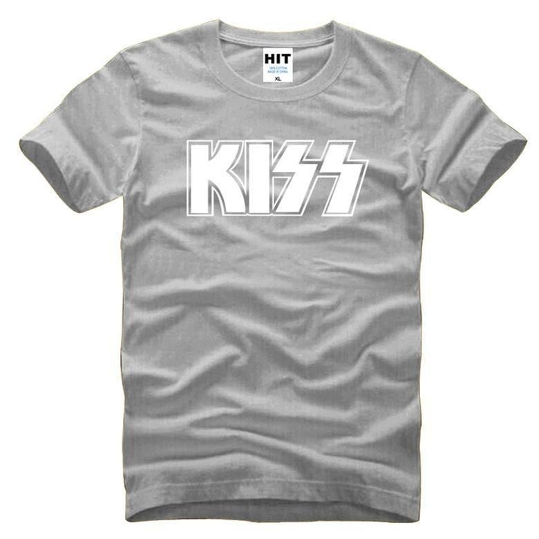 2017 New Men's Short Sleeved T - Shirts Kiss Heavy Metal Hard Rock Hip-hop