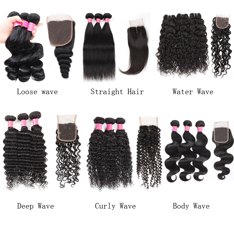 Factory Price Cheap 8A Unprocessed Brazilian Virgin Hair 3 Bundles with 4*4 Lace Closure Straight Hair Body Loose Deep Curly Water Wave