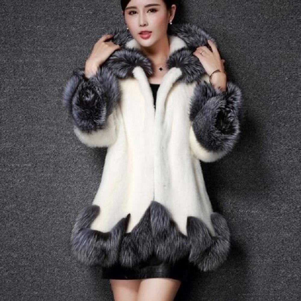 S-4XL Weiß Schwarz Oversize Faux-Nerzpelzmantel Mittl lang Coat Jacke Outwear