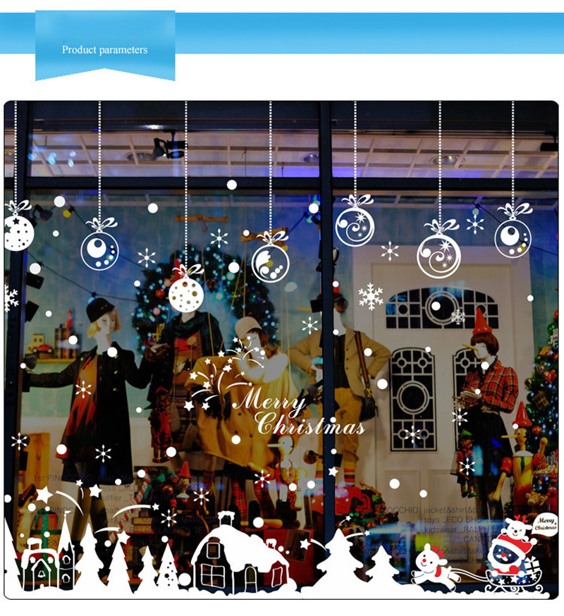 2019 New Year Merry Christmas Decorations for Home Snowflake Hut Wall Sticker Shop Window Glass Decoration Removable PVC Sticker (4)