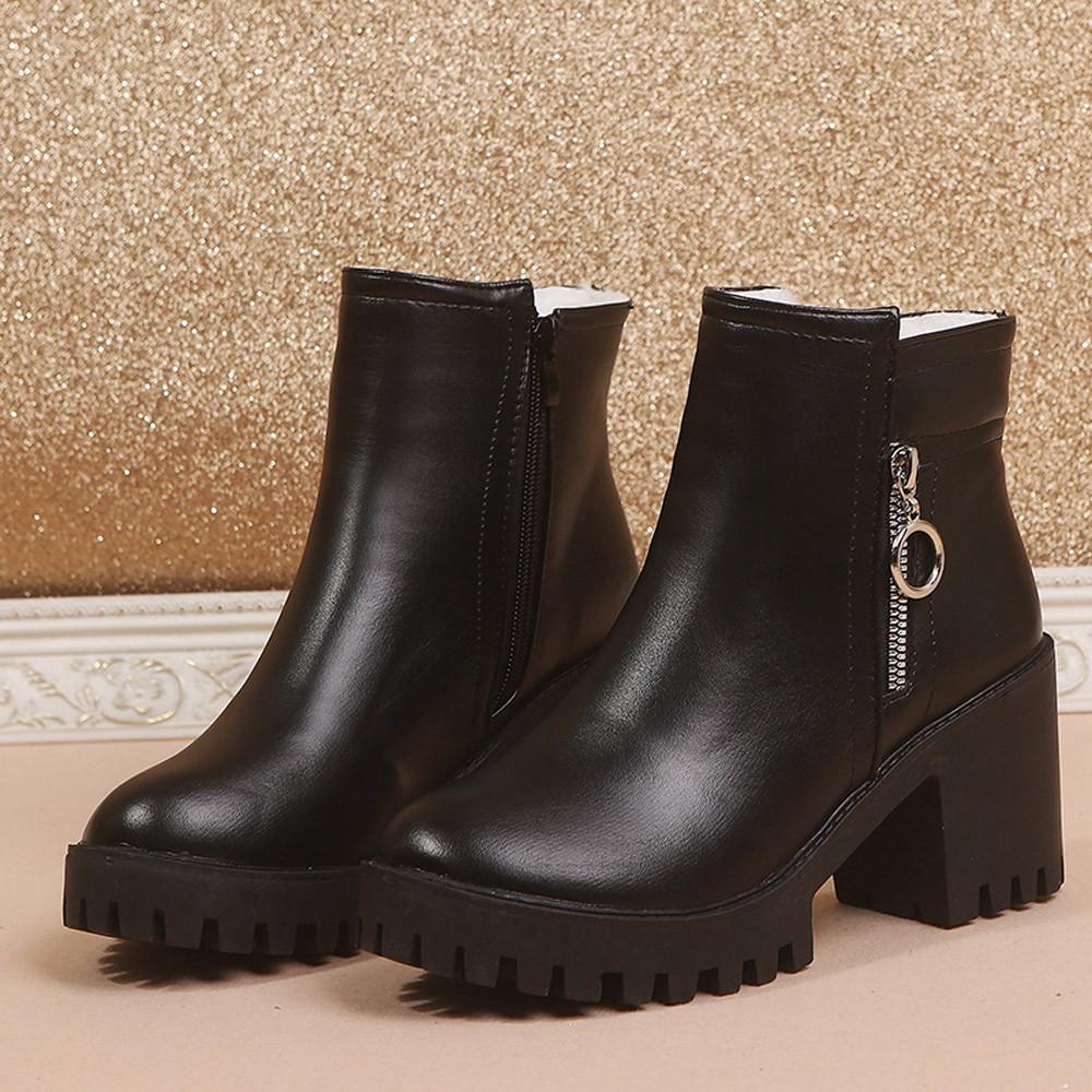 Gros Femme Haut Bottines Casual Chaussures Hiver Super De23 2018 Carré Femmes Talon Mode 65 Du Les Pour Bottes Acheter 1JcKFl