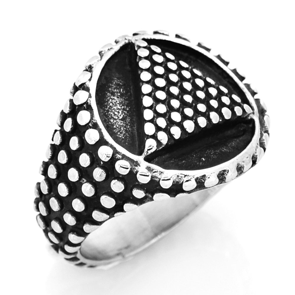 FANSSTEEL STAINLESS STEEL punk vintage mens or womens JEWELRY freemasonry dot tirangle round ring masonic ring FSR14W14