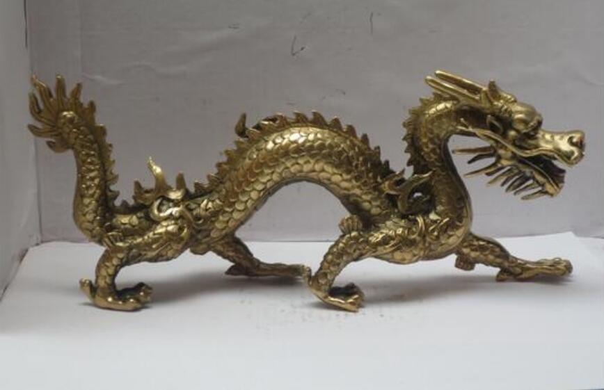 Beautiful Carved Copper Brass Bronze Dragon Turtle Small Statue Chinese