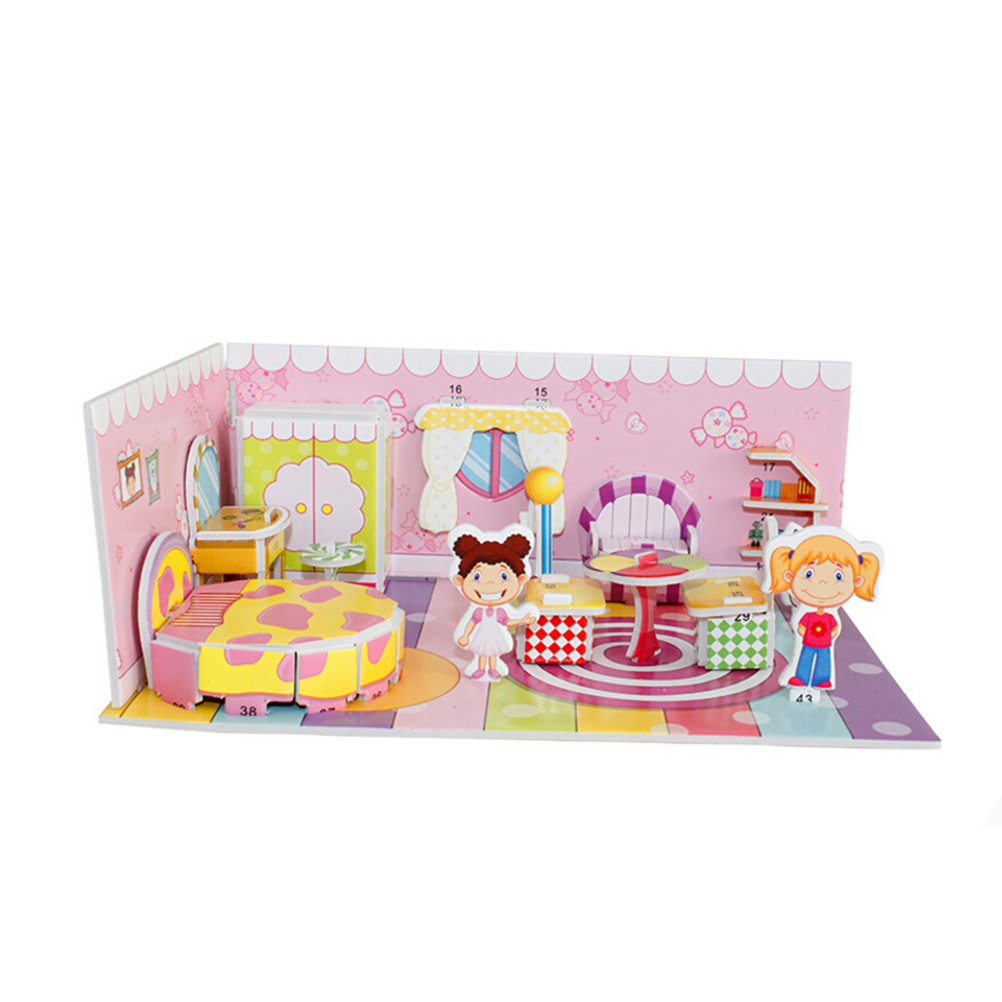 kawaii 3D DIY Puzzle Houses Puzzle Jigsaw Baby toy Kid Early learning Castle Construction pattern gift 21*14*1cm
