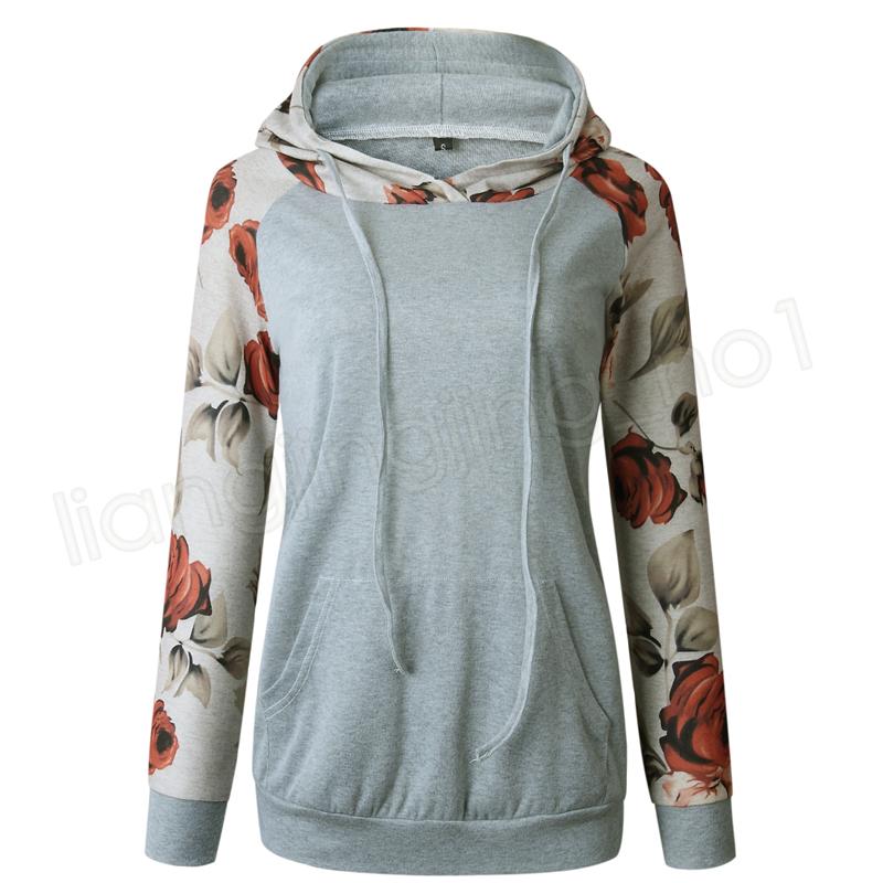 Femmes Hoodies Print Floral À Capuche Automne À Manches Longues Sweatshirts À La Mode Tops Filles Casual Vêtements De Plein Air Hoodies Vêtements À La Maison GGA1155