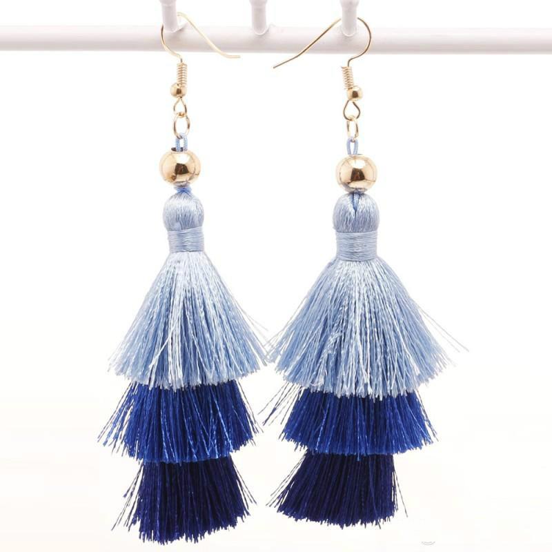 2017 New Women Dangle Earrings Bohemia Long Tassel Earrings Elegant Women Fashion Exaggerated Multicolor Jewelry C196S