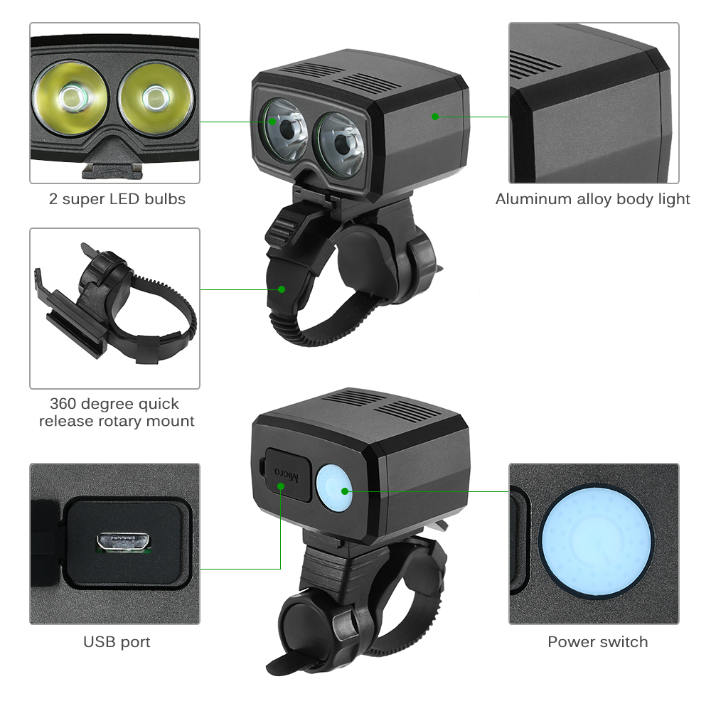 Aluminum Bicycle Headlight Front Light Lamp USB Rechargeable LED MTB Rechargeable Bike Light Super Bright Bike Headlamp