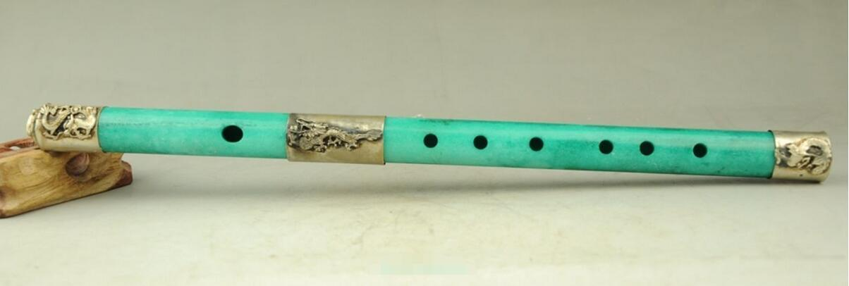 Exquisite Chinese Old Hand Carving Traditional Green Jade Phoenix Hairpin