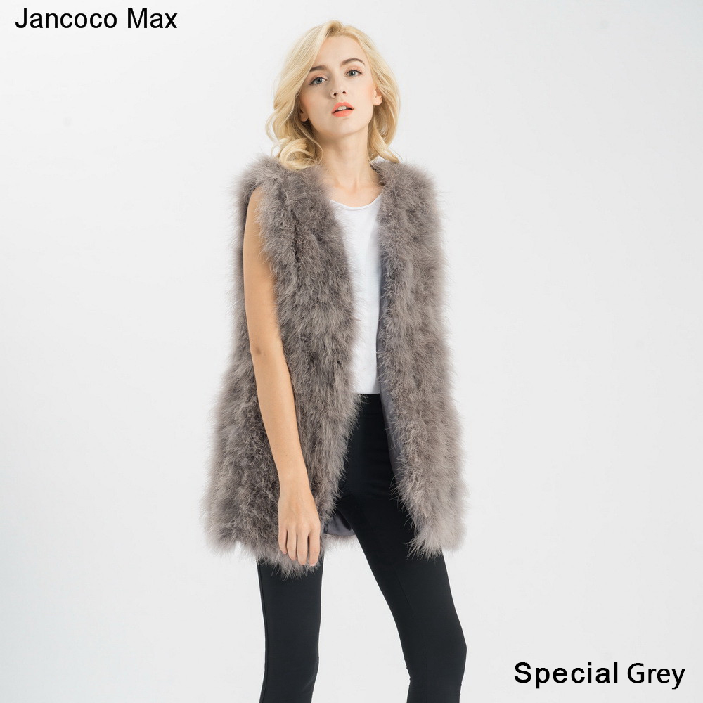 Jancoco-Max-S1007-Real-fur-gilet-Or-Genuine-ostrich-Turkey-Feather-fur-Long-Vest-Women-New