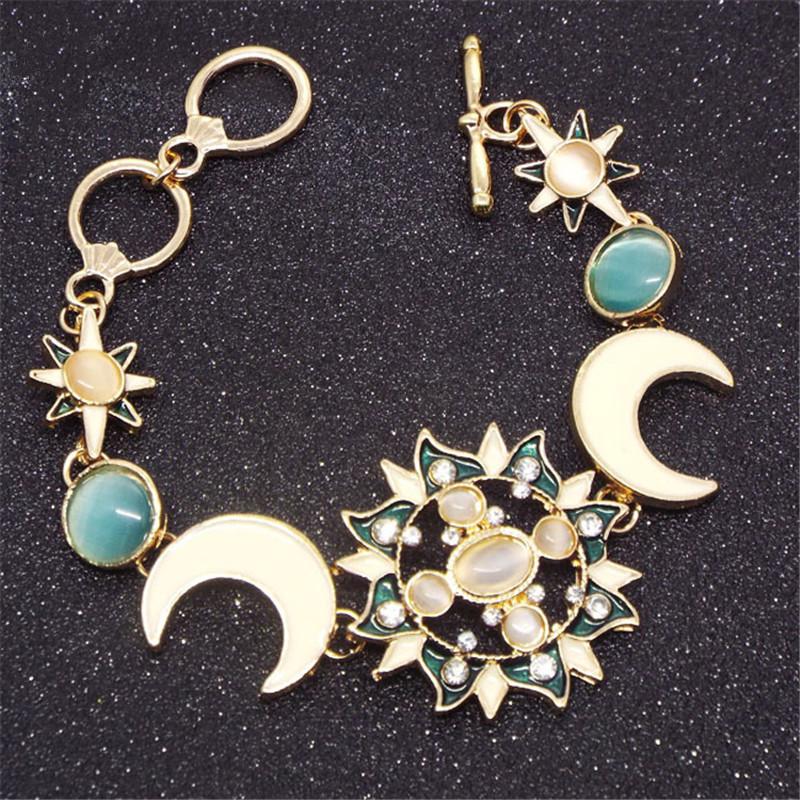 Pulsera estilo oriental luna y flores