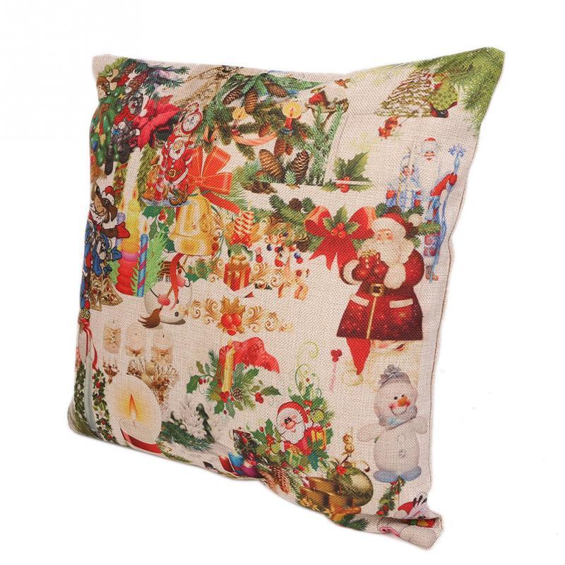 Heißer Verkauf Leinen Weihnachten KissenbezugWeihnachten Straße Kissenbezug Kissen Festivals Dekoration